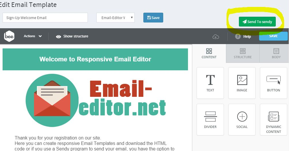 Editor for Sendy Program – Free Responsive Email Editor